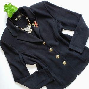 St John Black Santana Knit Short Blazer Jacket 8